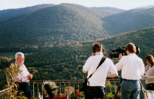 John Craven and the BBC camera crew filming on the terrace of La Torretta